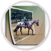 4h Horse Competition Round Beach Towel