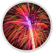 4th Of July - Independence Day Fireworks Round Beach Towel