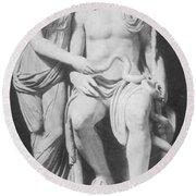 Aesculapius, Greek God Of Medicine Round Beach Towel