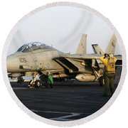 An F-14d Tomcat In Launch Position Round Beach Towel