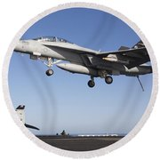 An Fa-18f Super Hornet During Flight Round Beach Towel