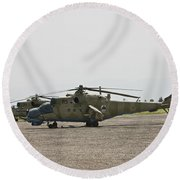 An Mi-35 Attack Helicopter At Kunduz Round Beach Towel