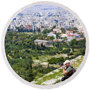 Athens Greece Round Beach Towel