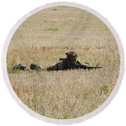 Belgian Paratroopers On Guard Round Beach Towel
