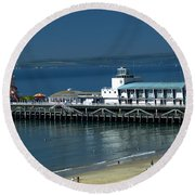 Bournemouth Pier And Beach Round Beach Towel