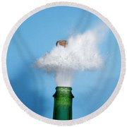 Champagne Cork Popping Round Beach Towel