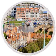 City Of Gdansk In Poland Round Beach Towel