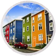 Colorful Houses In St. John's Newfoundland Round Beach Towel