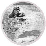 Dakota Blizzard, 1888 Round Beach Towel