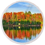 Fall Forest Reflections Round Beach Towel