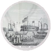 Fulton Steam Frigate, 1814 Round Beach Towel