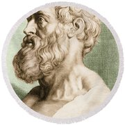 Hippocrates, Greek Physician Round Beach Towel