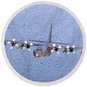 Mc-130p Combat Shadow In Flight Round Beach Towel