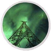Powerlines And Aurora Borealis Round Beach Towel by Arild Heitmann