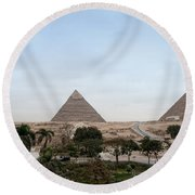Pyramids Of Giza Round Beach Towel
