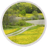 Spring Farm Landscape With Dandelion Bloom In Maine Round Beach Towel