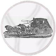 Stagecoach, 19th Century Round Beach Towel