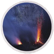 Stromboli Eruption, Aeolian Islands Round Beach Towel