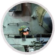 Tank Driver Of A Leopard 1a5 Mbt Round Beach Towel