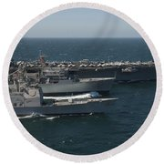 Underway Replenishment At Sea With U.s Round Beach Towel