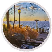 View From Battery Park City Round Beach Towel