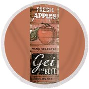 50 Pounds Of Apples Round Beach Towel