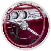 55 Chevy Ss Dash Round Beach Towel