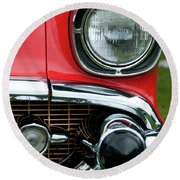 57 Chevy Left Front 8560 Round Beach Towel