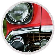 57 Chevy Right Front 8561 Round Beach Towel