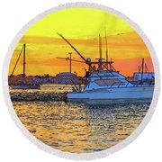 57- Sunset Cruise Round Beach Towel
