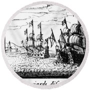Spanish Armada, 1588 Round Beach Towel