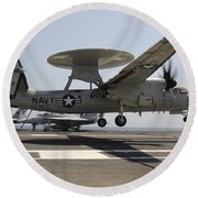 An E-2c Hawkeye Lands Aboard Round Beach Towel by Stocktrek Images