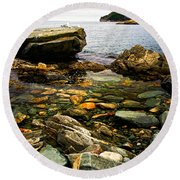 Atlantic Coast In Newfoundland Round Beach Towel