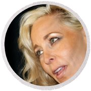 Blond Woman Round Beach Towel