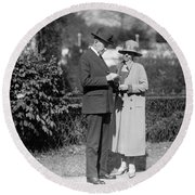 Calvin Coolidge (1872-1933) Round Beach Towel