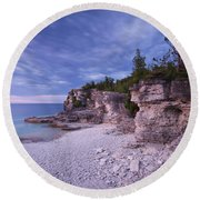 Georgian Bay Cliffs At Sunset Round Beach Towel