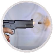 Handgun And .45 Caliber Bullet Round Beach Towel