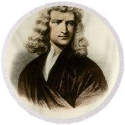 Isaac Newton, English Polymath Round Beach Towel