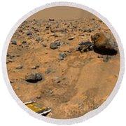 Panoramic View Of Mars Round Beach Towel