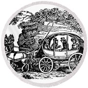 Stagecoach, 19th Century Round Beach Towel