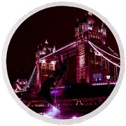 Tower Bridge And The Girl And Dolphin Statue  Round Beach Towel