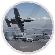Two A-10 Thunderbolts Fly Round Beach Towel