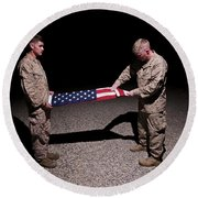 U.s. Marines Fold The American Flag Round Beach Towel