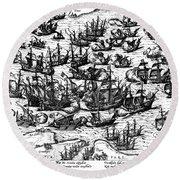 Spanish Armada, 1588 Round Beach Towel