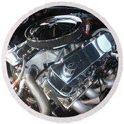 67 Black Camaro Ss 396 Engine-8033 Round Beach Towel