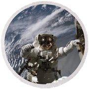 Astronaut Participates Round Beach Towel by Stocktrek Images