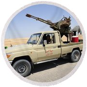 A Free Libyan Army Pickup Truck Round Beach Towel by Andrew Chittock