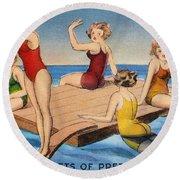 American Postcard, C1950 Round Beach Towel
