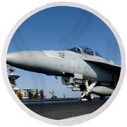 An Fa-18f Super Hornet Launches Round Beach Towel by Stocktrek Images