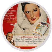 Chesterfield Cigarette Ad Round Beach Towel